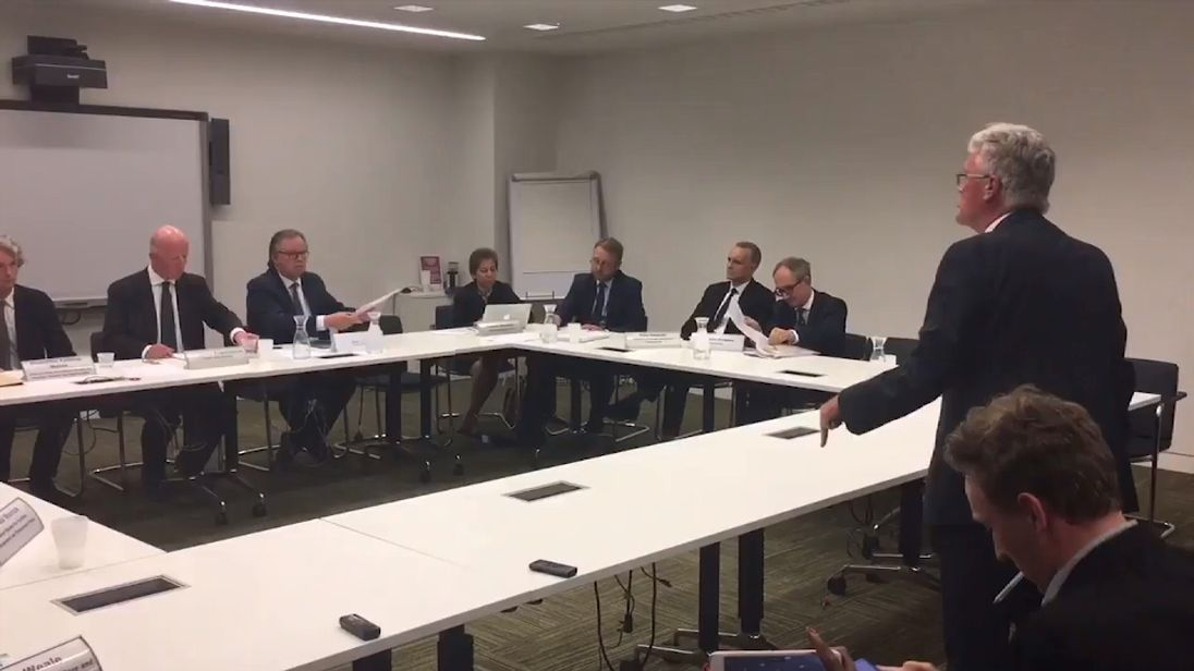 A meeting of councillors linked to the Grenfell Tower tragedy descended into chaos. Pic: LBC/ConnorGillies