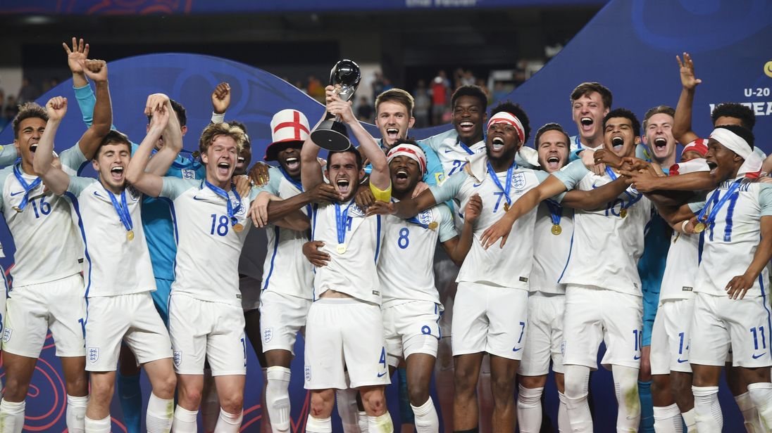 England's players celebrate winning the U20 World Cup final against Venezuela