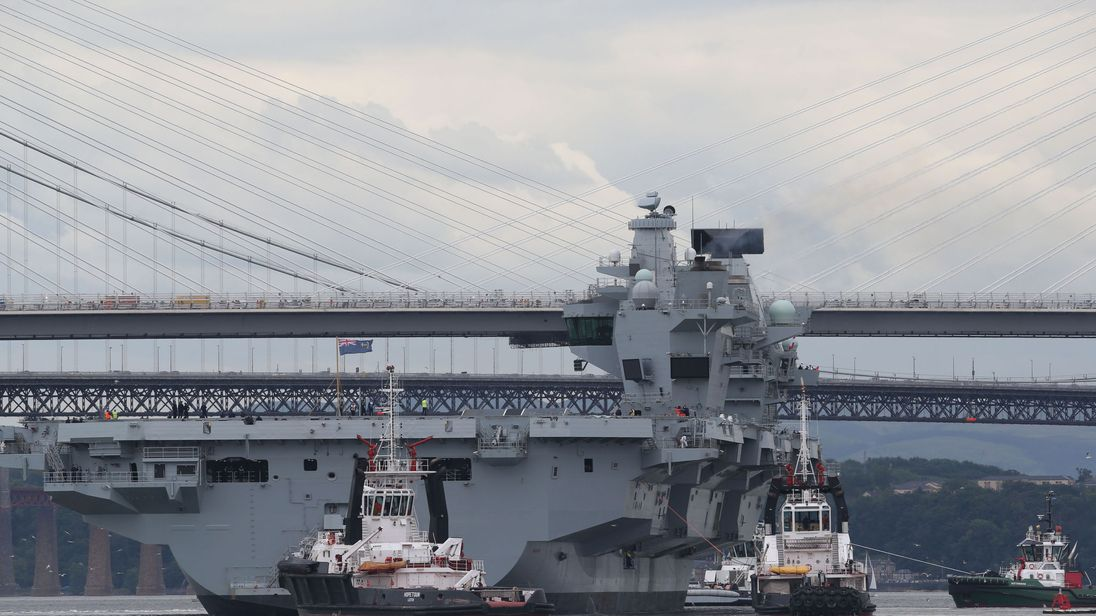HMS Queen Elizabeth set out on its maiden voyage on Monday
