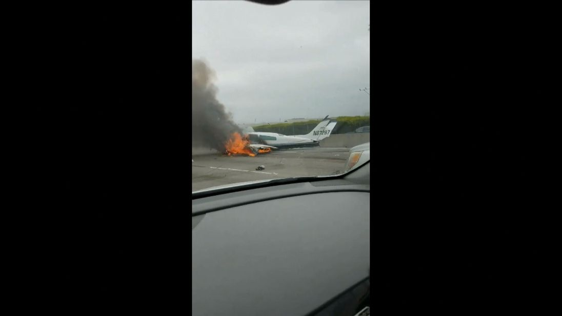 Plane crash on California freeway
