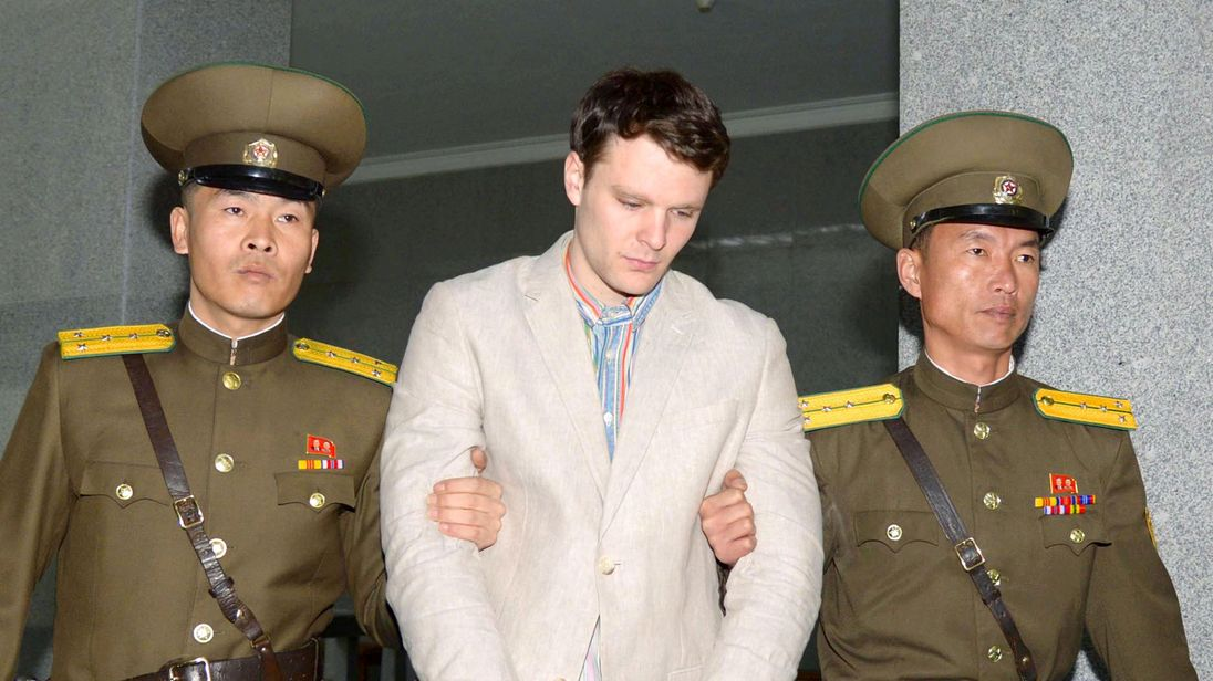U.S. college student released by North Korea arrives in Ohio
