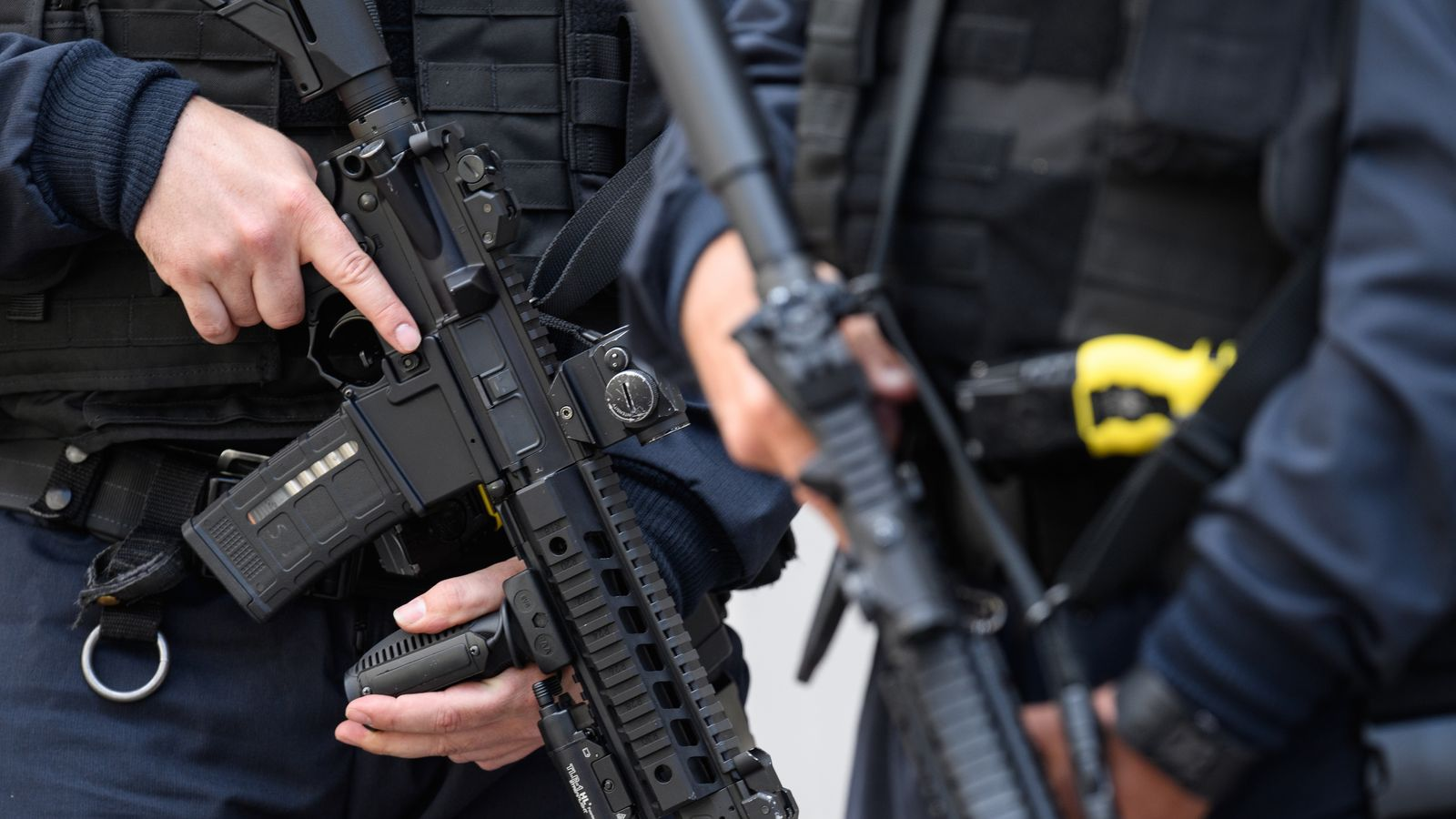 Armed police following the UK terror attack