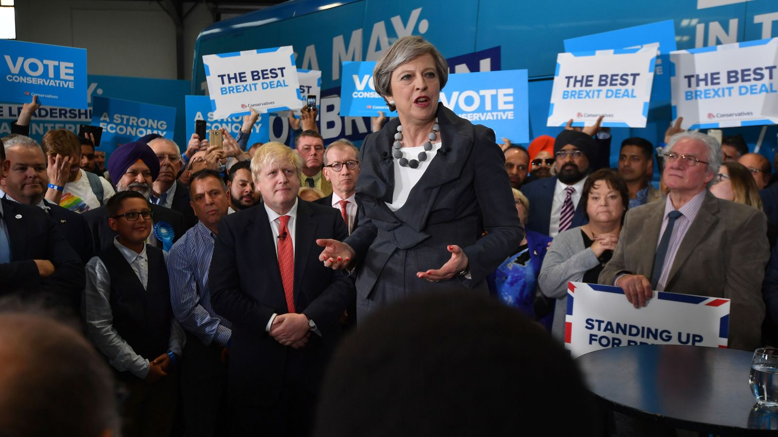 Theresa May is joined by Foreign Secretary Boris Johnson at a campaign event in Slough