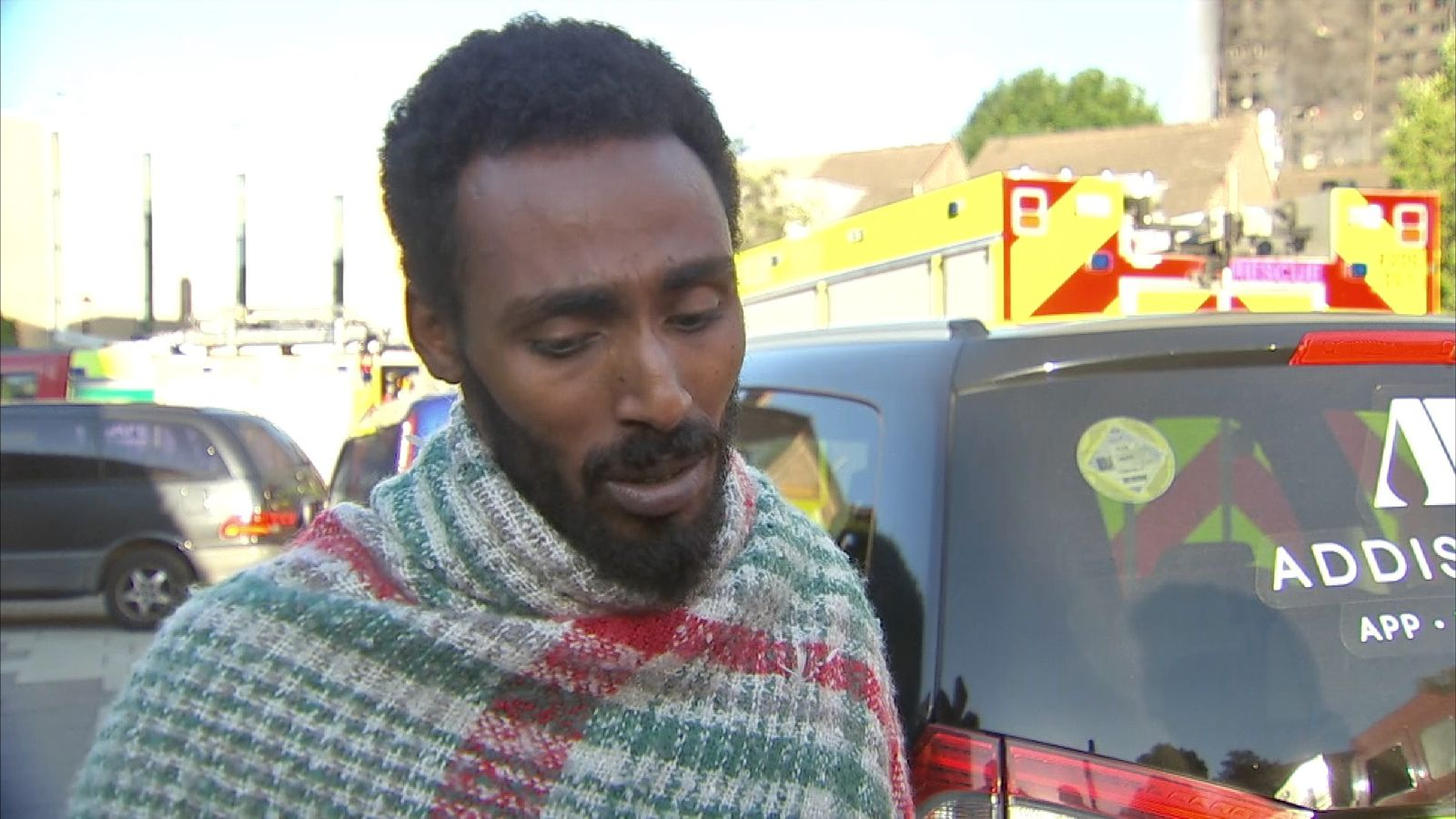 Grenfell Tower resident Mahad Egal says the fire started when a fridge exploded