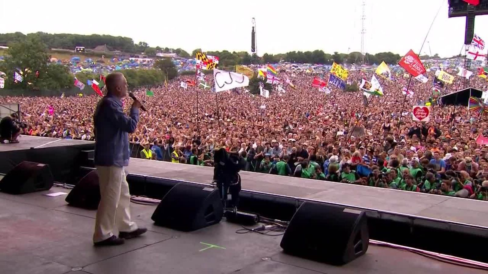 Jeremy Corbyn addresses The Glastonbury festival