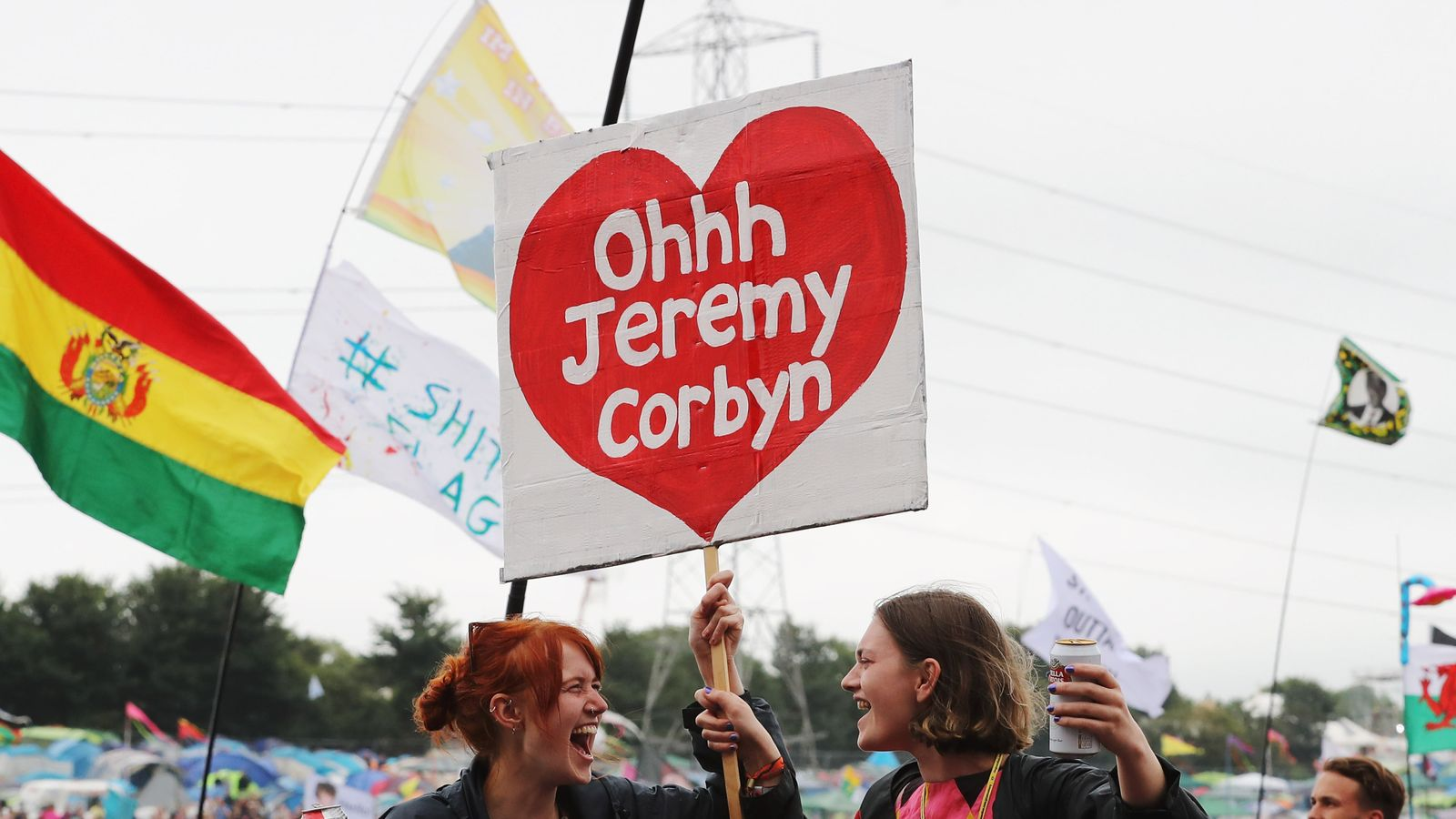 One of the banners with the Labour leader's name on it