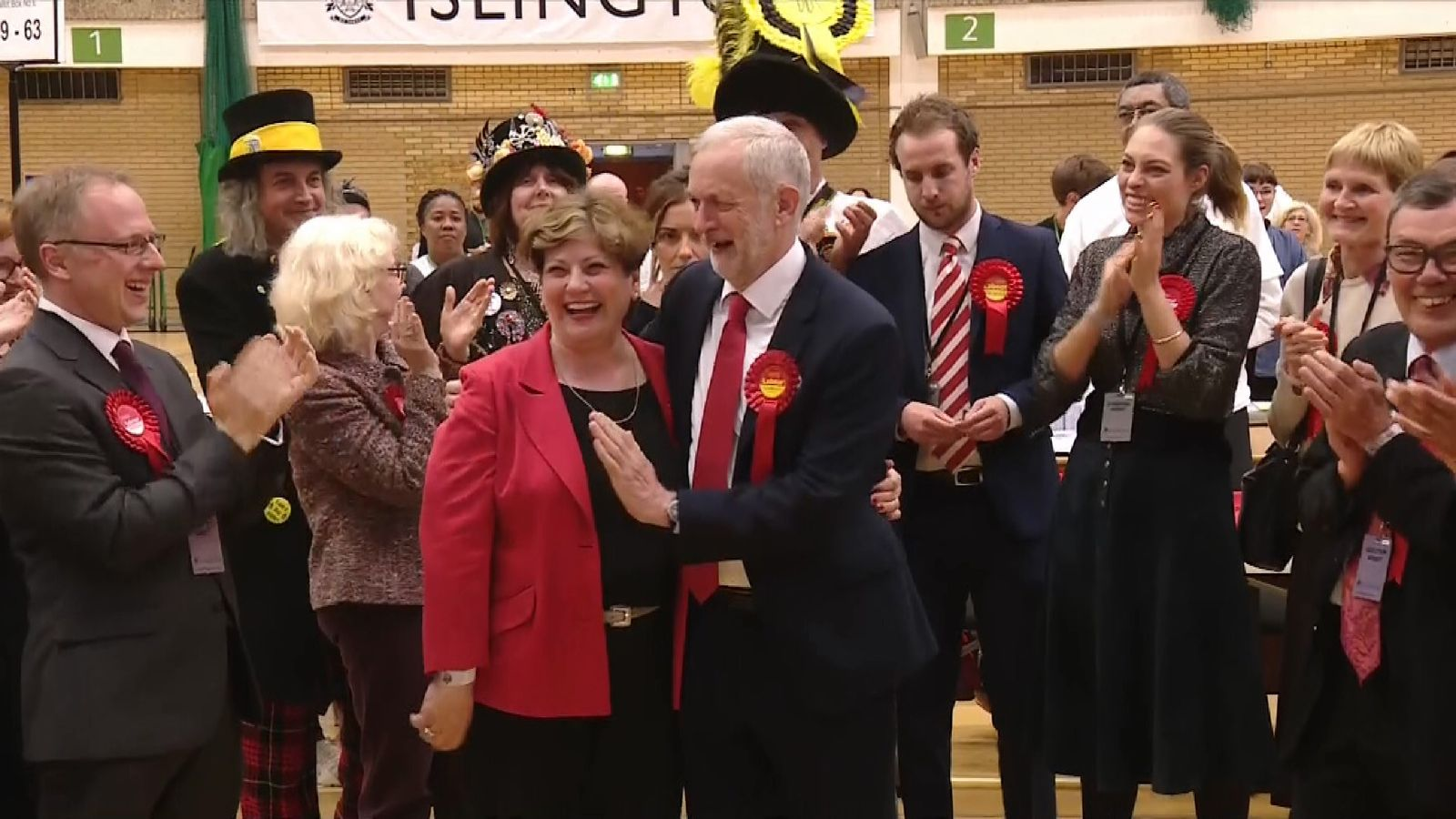 A delighted Jeremy Corbyn at his constituency count