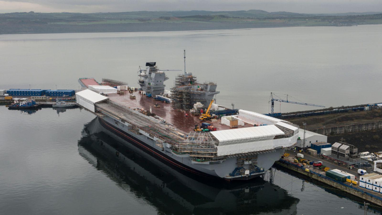 The aircraft carrier HMS Queen Elizabeth under construction at Rosyth Dockyard, Scotland. Pic: MoD