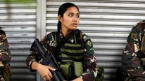 A Philippines army soldier takes a break as government forces continue their assault