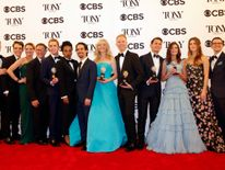 "The cast of ""Dear Evan Hansen"" poses with their various awards"