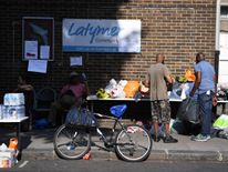 Clothing, water and food are provided at Latymer Church near Grenfell Tower