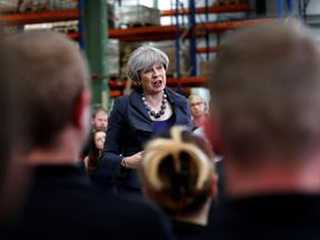 Prime Minister Theresa May attends an election campaign event at Ultima Furniture on June 1, 2017 in Pontefract, United Kingdom