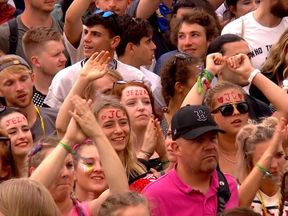 Jeremy Corbyn fans in the crowd at Glastonbury