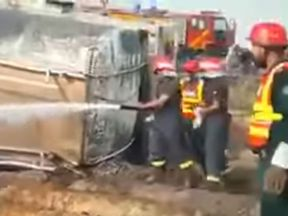 The tanker overturned near to the city of Bahawalpur