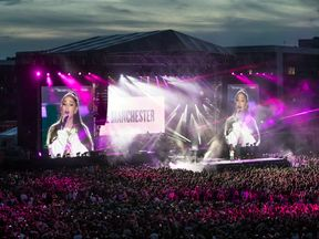 Ariana Grande performs during the One Love Manchester benefit concert for the victims of the Manchester Arena terror attack at Emirates Old Trafford, Greater Manchester.