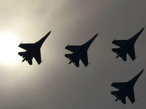 Sukhoi Su-27 jet fighters