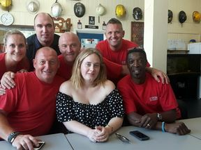 Adele and firefighters. Pic: London Fire Brigade