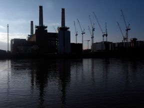 General view of Battersea Power Station in south west London, where they have been dismantling then rebuilding the four chimneys as part of the redevelopment of the 1930s power station.