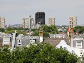 The burned shell of Grenfell Tower block