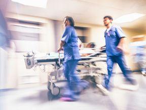 Nurses in a hospital corridor