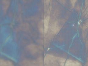 Left: Graphene under a normal microscope. Right: Graphene witha microsphere-enabled microscope. Pic: LIG Technologies