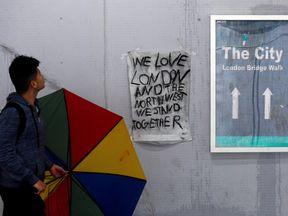 A hand drawn poster near the scene of the terror attack at London Bridge and Borough Market