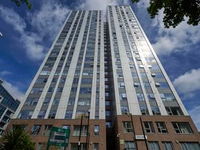 The Taplow residential tower block is seen on the Chalcots Estate in north London on June 23, 2017
