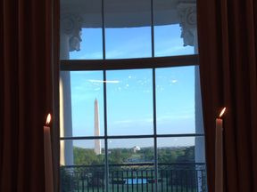 Melania Trump posted this photo seemingly taken from the Red Room at the White House. Pic: @FLOTUS