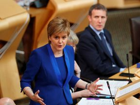 Scotland's First Minister, Nicola Sturgeon, addresses the Scottish Parliament in Edinburgh, Scotland