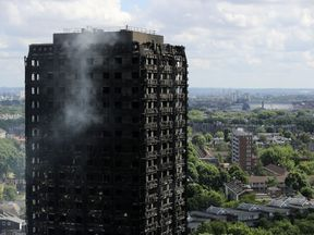 The blackened exterior of Grenfell Tower