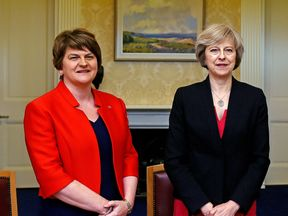 Theresa May is holding talks with DUP leader Arlene Foster. File pic