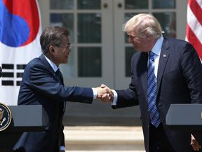 Donald Trump met with South Korea's Moon Jae-in at the White House