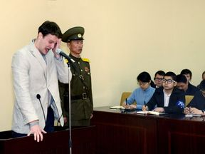 Mr Warmbier broke down as he was jailed in March 2016