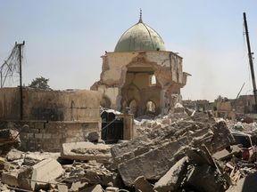 The destroyed al-Nuri mosque in the Old City of Mosul