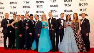 """The cast of """"Dear Evan Hansen"""" poses with their various awards"""