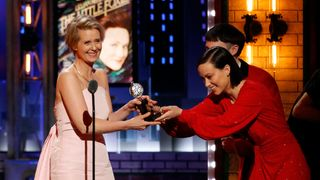 """Cynthia Nixon - Best Performance by an Actress in a Featured Role in a Play - """"Lillian Hellman's The Little Foxes"""" accepts her award from presenters Tom Sturridge and Olivia Wilde"""