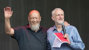 Jeremy Corbyn and Glastonbury founder Michael Eavis on the Pyramid Stage