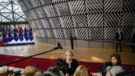 BRUSSELS, BELGIUM - JUNE 22: British Prime Minister Theresa May arrives at the EU Council headquarters ahead of a European Council meeting on June 22, 2017 in Brussels, Belgium. In the first European summit since she lost her Commons majority in the general election, Prime Minister Theresa May will outline her plans for the issue of expats' rights after Brexit. (Photo by Leon Neal/Getty Images)