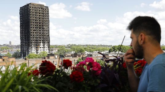 The remains of residential tower block Grenfell Tower