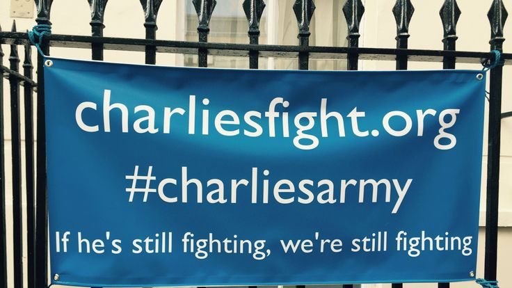 A banner hung on the railings of Great Ormond Street Hospital
