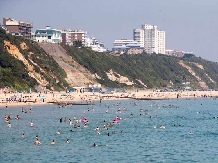 Hundreds were tempted by the water at Bournemouth beach