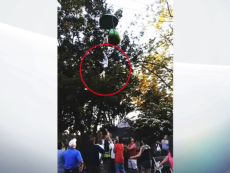 Girl caught falling from theme park ride in New York