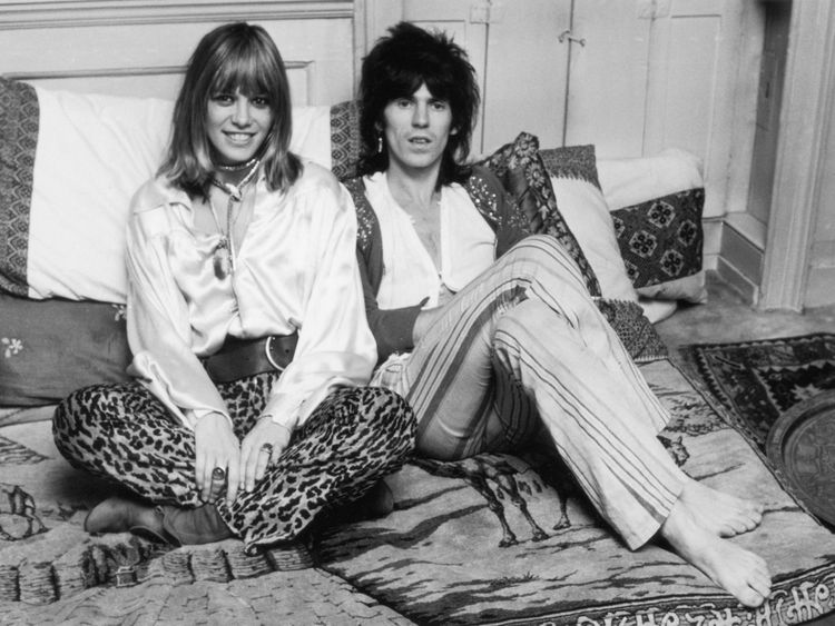 Anita Pallenberg with boyfriend Keith Richards in 1969