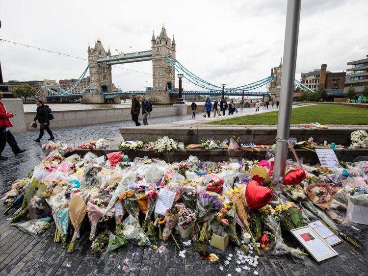 Floral tributes lay in Potters Fields Park following the June 3rd terror attack on June 6, 2017 in London, England. Seven people were killed and at least 48 injured in terror attacks on London Bridge and Borough Market on June 3rd. Three attackers were shot dead by armed police. (Photo by Jack Taylor/Getty Images)
