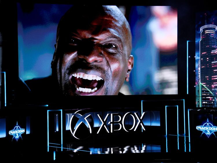 "Actor Terry Crews makes a guest appearance in a trailer from the video game ""Crackdown"" is shown during..."