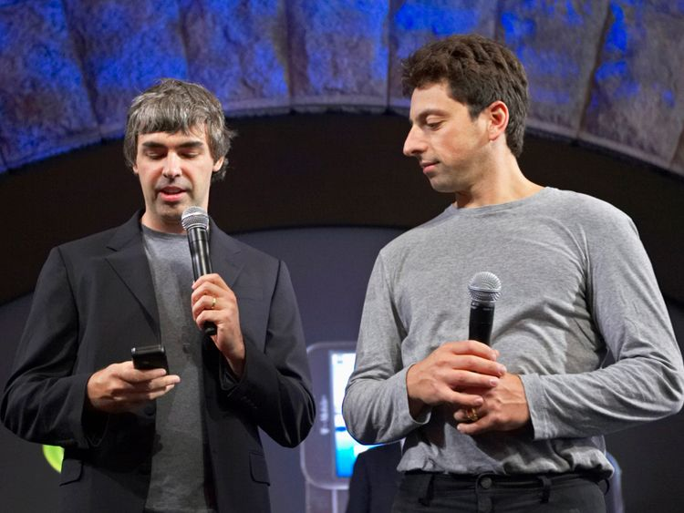 Larry Page (L) and Sergey Brin