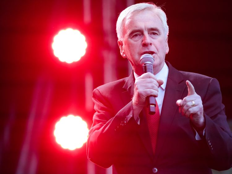 John McDonnell addresses supporters at a convene in June