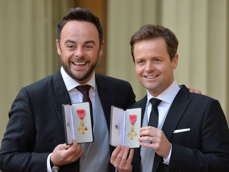 Ant and Dec receiving their OBEs in January