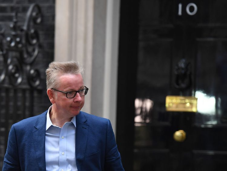 Michael Gove after being told he had been given the job of Environment Secretary