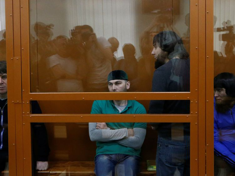 Suspects Temirlan Eskerkhanov, Shadid Gubashev, Zaur Dadayev and Anzor Gubashev attend hearing in Moscow